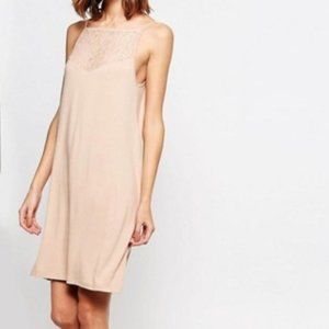 ASOS Vila Nude High Neck Lace Insert Swing Dress